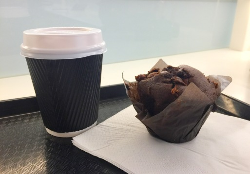 Café au Lait and Chocolate Muffin