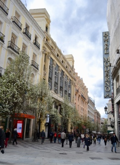 This street exits Plaza del Sol (Madrid's geographical center) and leads to where I stayed. I loved the colors of the buildings next to the flowering trees.